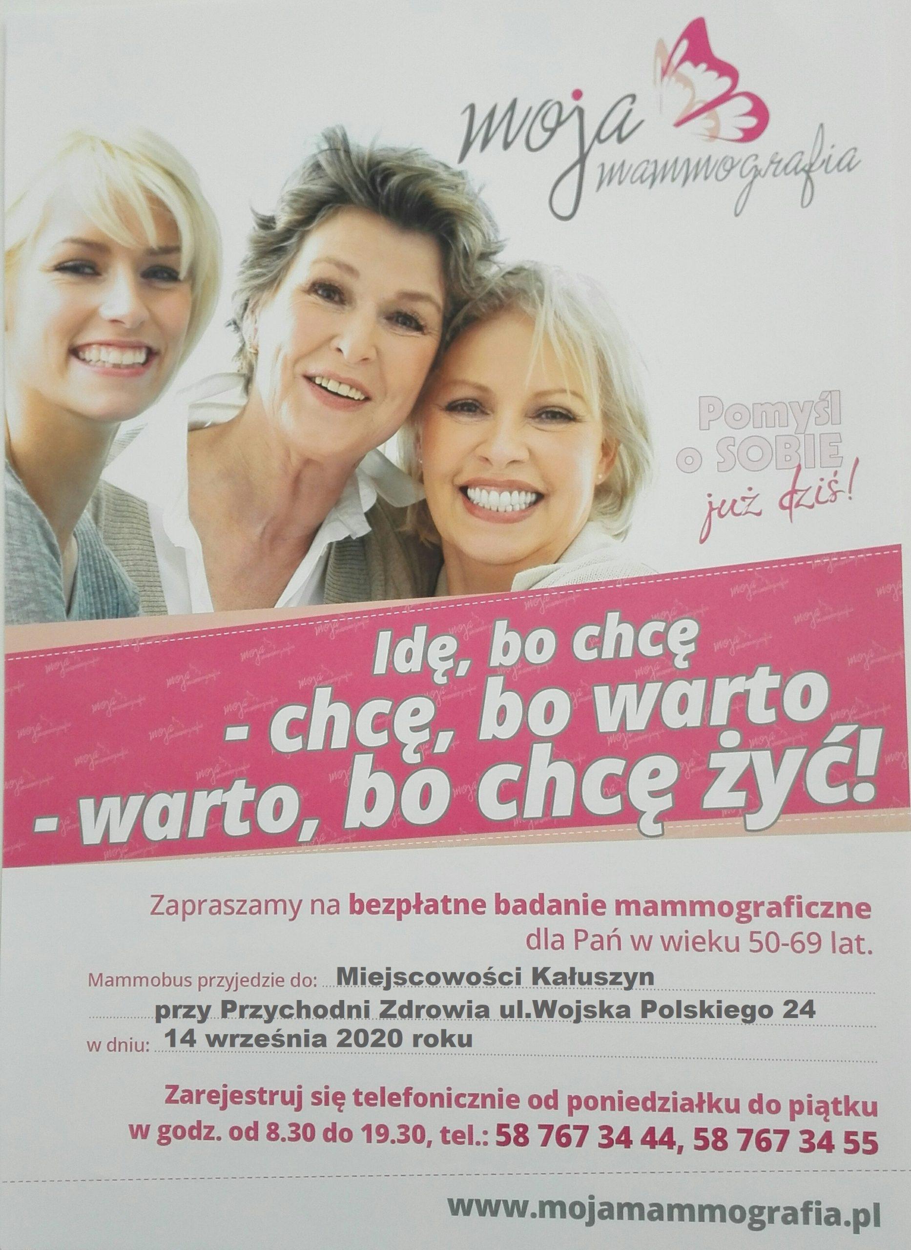 Zdjęcie przedstawia plakat, promujący bezpłatne badanie mammograficzne.